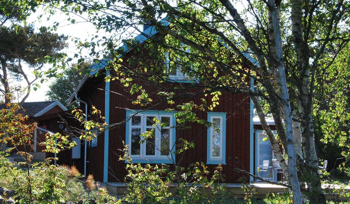 Exteriör fiskarstugan på Trossö, Karlskrona i Blekinge